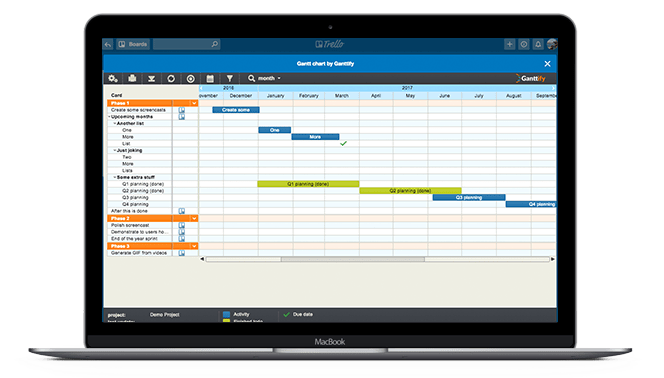 The Gantt chart browser extension for Trello inside a Trello board